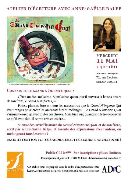 Afichette atelier d'écriture avec Anne-Gaëlle Balpe